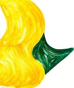 """Sunnyside Yards 27"", large, abstract monoprint, vivid yellow, viridian green."