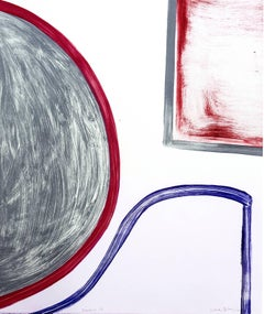 """""""Sunnyside Yards 28"""", large abstract gestural monoprint, red, grey, blue."""
