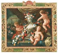 18th Century Baroque Andrea Belvedere & Nicola Vaccaro Allegory of Sculpture Oil