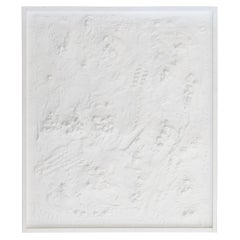 "Andrea Brandi ""Untitled"" White Plaster/Stones/Acrylics Abstract Painting, 2016"
