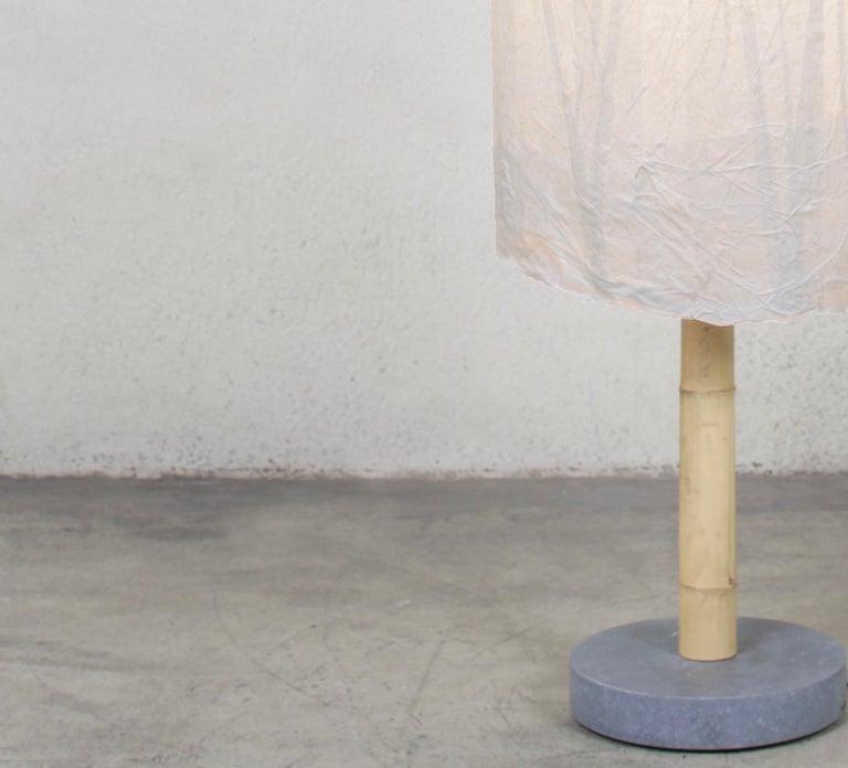 Italian Andrea Branzi, Standing Lamp, Japanese Rice Paper, Bamboo, Belgian Bluestone For Sale