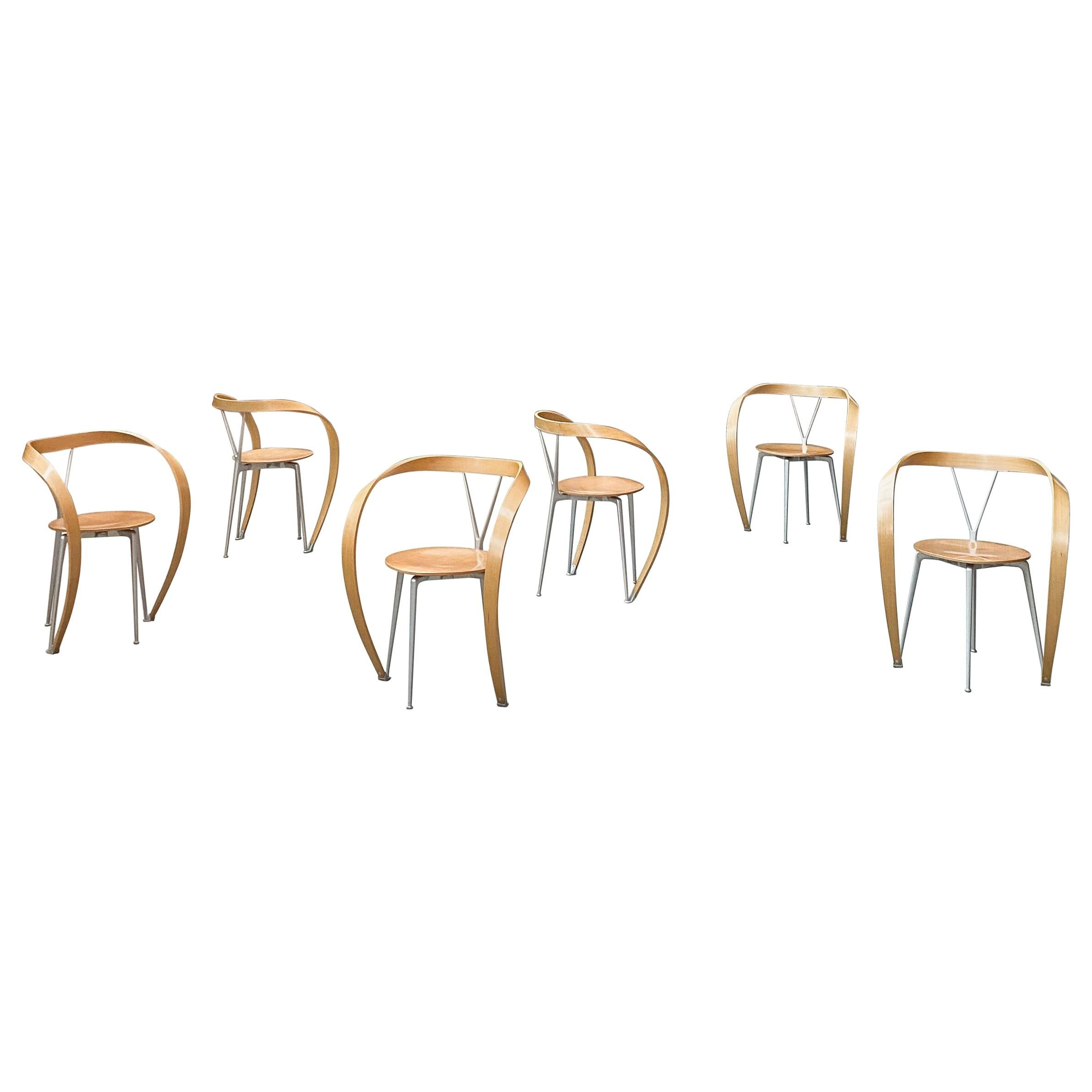 """Andrea Branzi """"Revers"""" Dining Chairs for Cassina, 1993, Set of 6"""