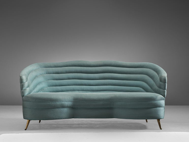 Andrea Busiri Vici, sofa in velvet and metal, Italy, 1960s.