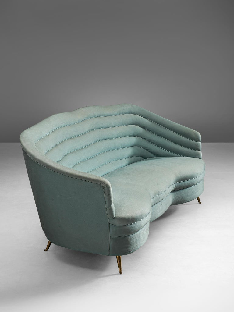 Mid-Century Modern Andrea Busiri Sofa in Turquoise Blue Upholstery For Sale