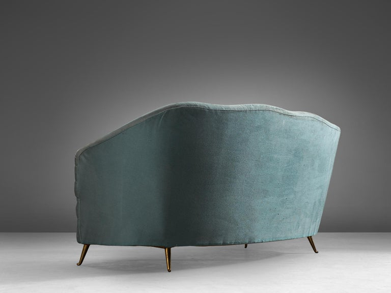 Italian Andrea Busiri Sofa in Turquoise Blue Upholstery For Sale