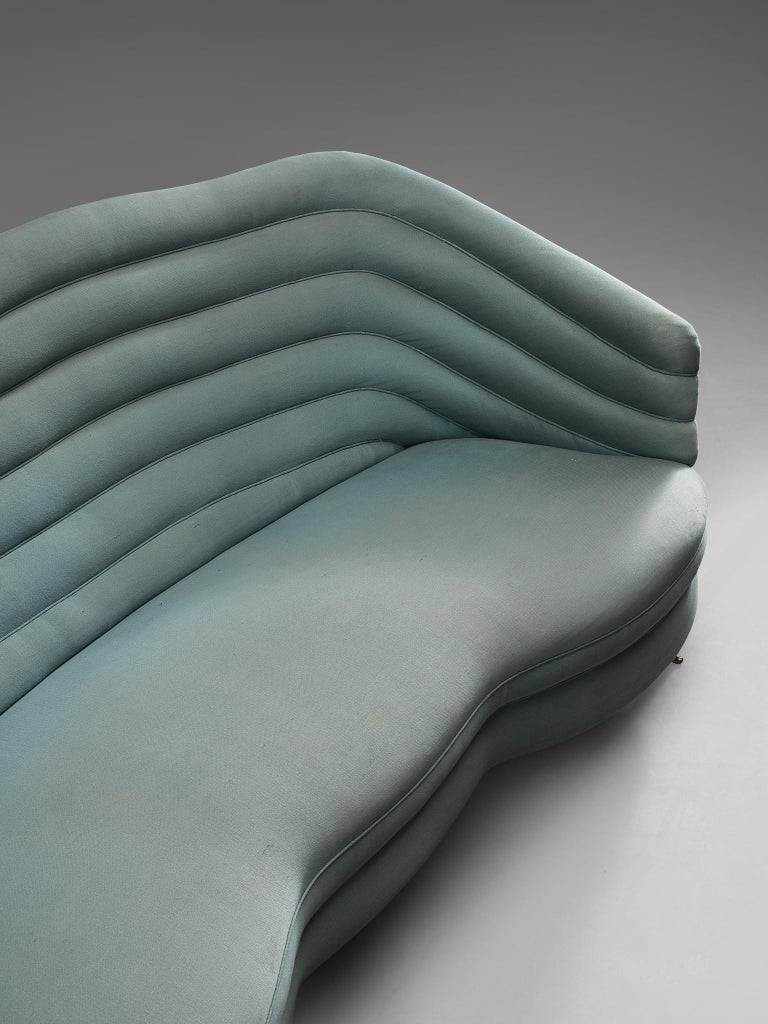 Mid-20th Century Andrea Busiri Sofa in Turquoise Blue Upholstery For Sale
