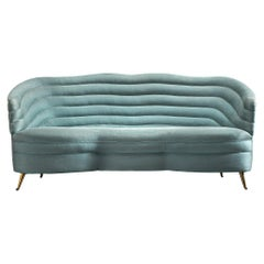 Andrea Busiri Sofa in Turquoise Blue Upholstery