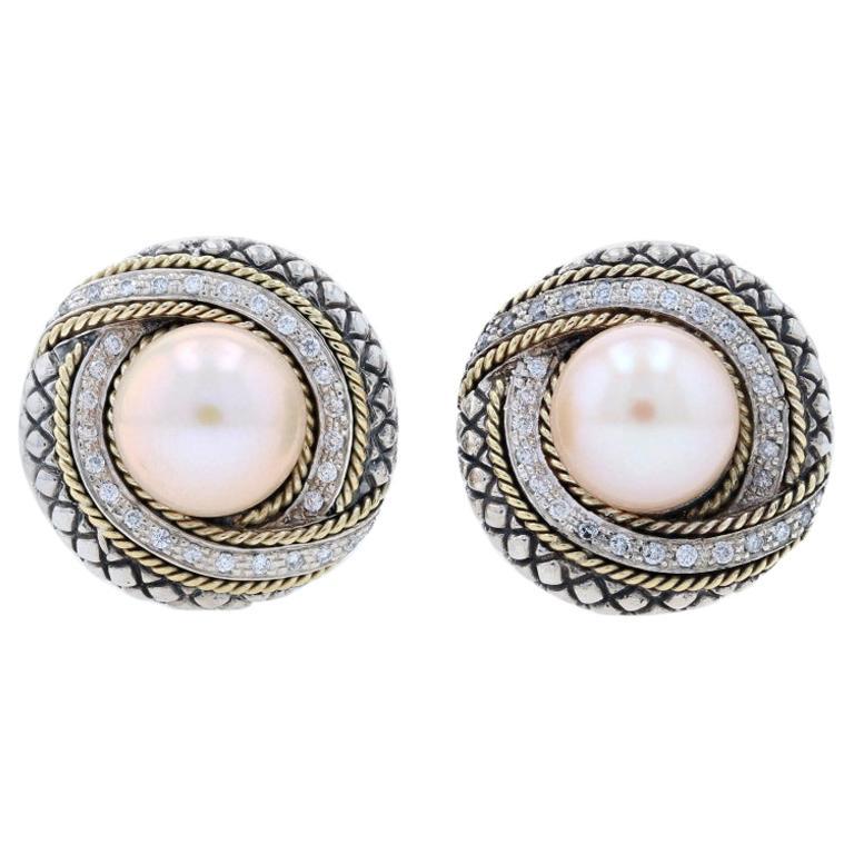 Andrea Candela Marbella Cultured Pearl Diamond Earrings Silver 18k Gold.48 Carat