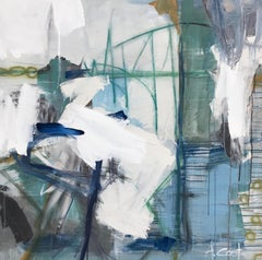 Amazing Day by Andrea Costa, Large Square Abstract Oil on Gesso Painting