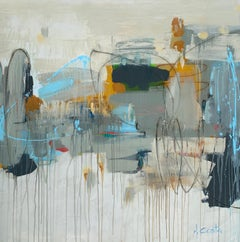Changed My Mind by Andrea Costa, Large Square Abstract Painting With Blue