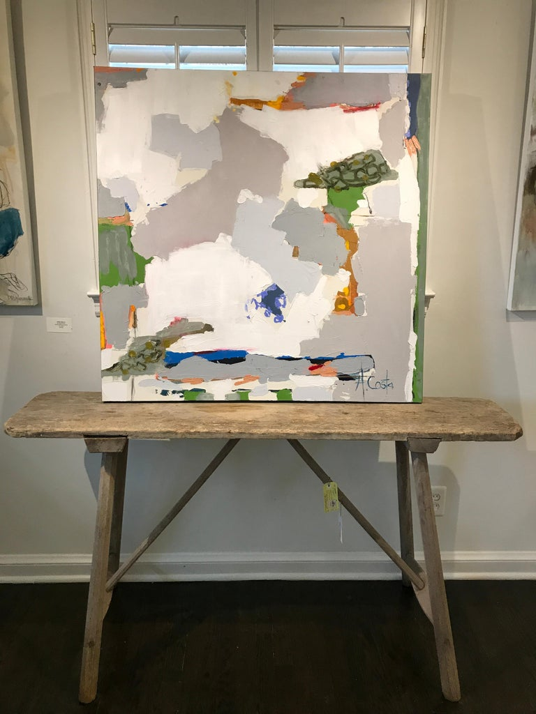 Day in the Park by Andrea Costa, Mixed Media Abstract Square Format Painting 2