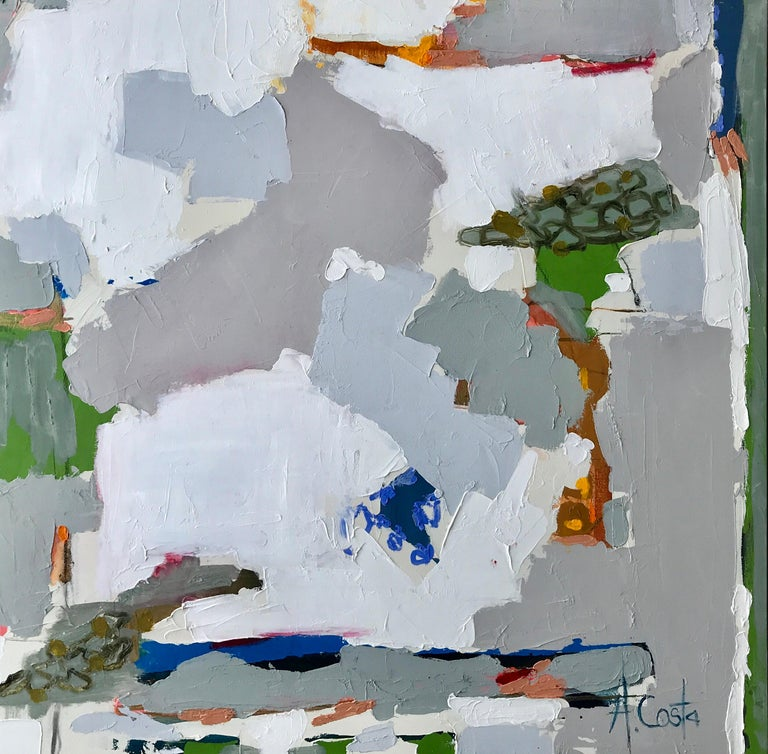 Day in the Park by Andrea Costa, Mixed Media Abstract Square Format Painting 1