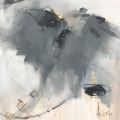 First Flight Out by Andrea Costa, Square Mixed Media on Canvas Abstract Painting