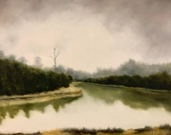 Fishing Lake by Andrea Costa, Large Impressionist Landscape Oil Painting