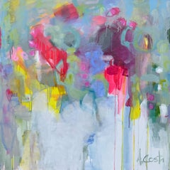 Joy 1 by Andrea Costa, Large Square Abstract Oil on Gesso Painting