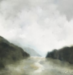 Light and Airy by Andrea Costa, Large Square Oil on Gesso Landscape Painting