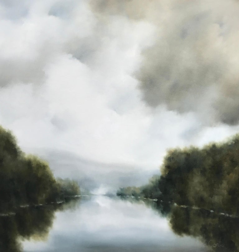 'Morning Greetings' is a large Impressionist oil on gessoed canvas landscape painting created by American artist Andrea Costa in 2018. Featuring a soft palette mostly made of grey, white, blue and green tones, the painting depicts a peaceful yet