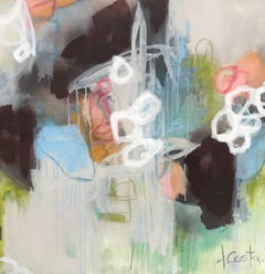 Thoughts and Hydrangeas by Andrea Costa, Square Abstract Oil on Gesso Painting
