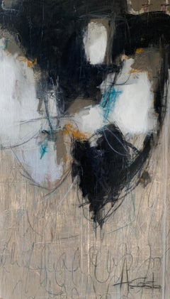 Your Love Awakens Me Andrea Costa, Abstract Vertical Painting with Black & Gray