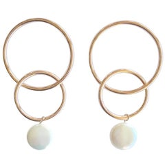 Andrea Estelle Designer 14 Karat Gold Freshwater Pearl Hoop Earrings