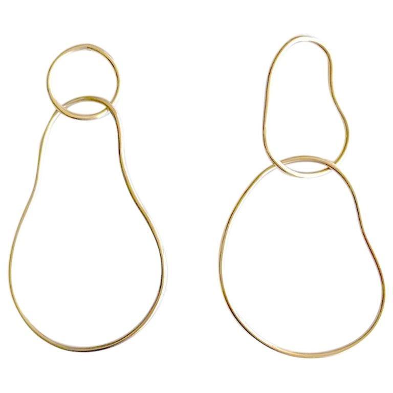 Andrea Estelle Fluid Interlocking 14 Karat White Gold Hoop Earrings