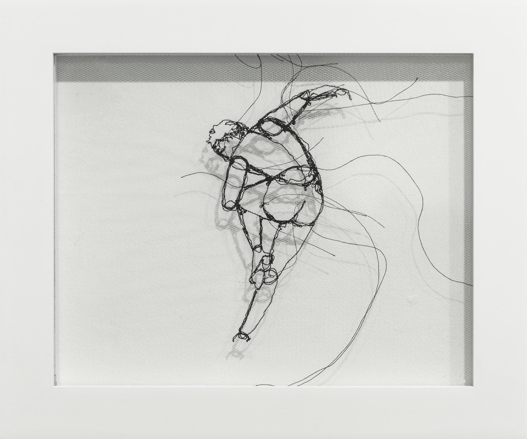 """Freemotion II"", Fiber Art, Figurative, Nude Dancer, Dancing, Thread"