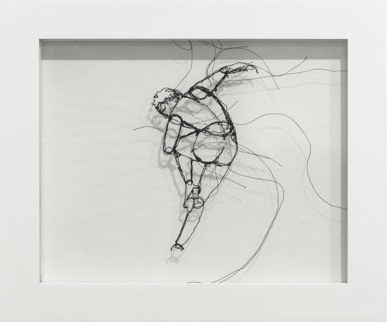 """Freemotion II"", Fiber Art, Figurative, Nude Dancer, Dancing, Thread - Mixed Media Art by Andrea Farina"