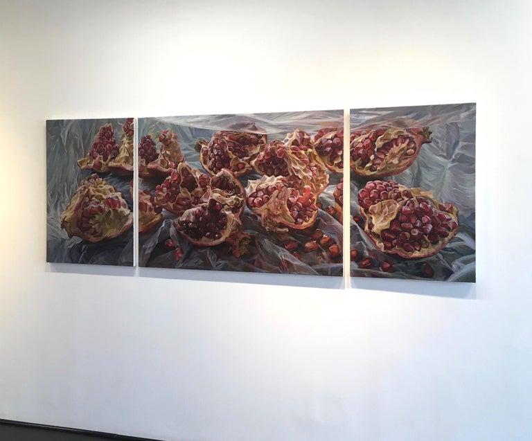 Granatum Scissa, Large Horizontal Still Life, Red Pomegranate on Gray Background - Painting by Andrea Kantrowitz