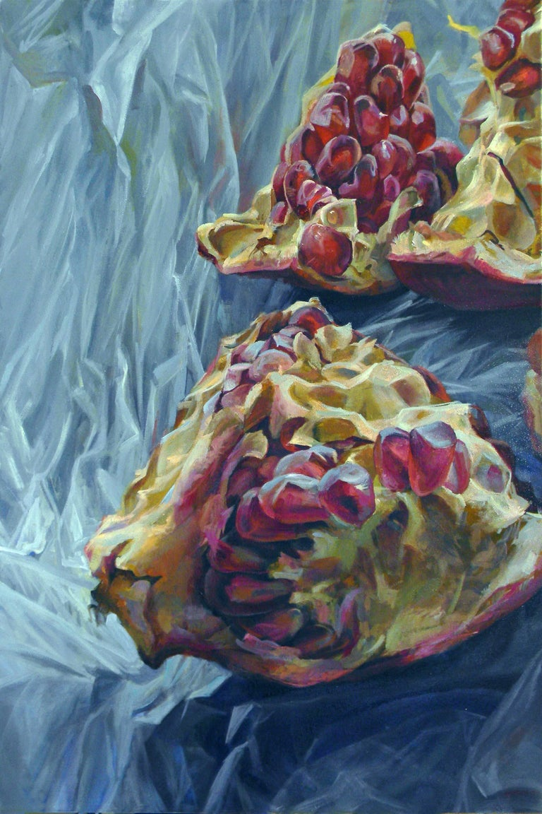 Granatum Scissa, Large Horizontal Still Life, Red Pomegranate on Gray Background - Contemporary Painting by Andrea Kantrowitz
