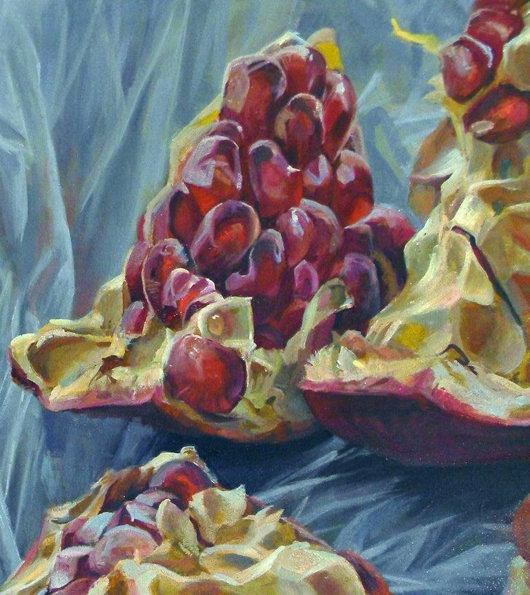 Granatum Scissa, Large Horizontal Still Life, Red Pomegranate on Gray Background - Black Still-Life Painting by Andrea Kantrowitz