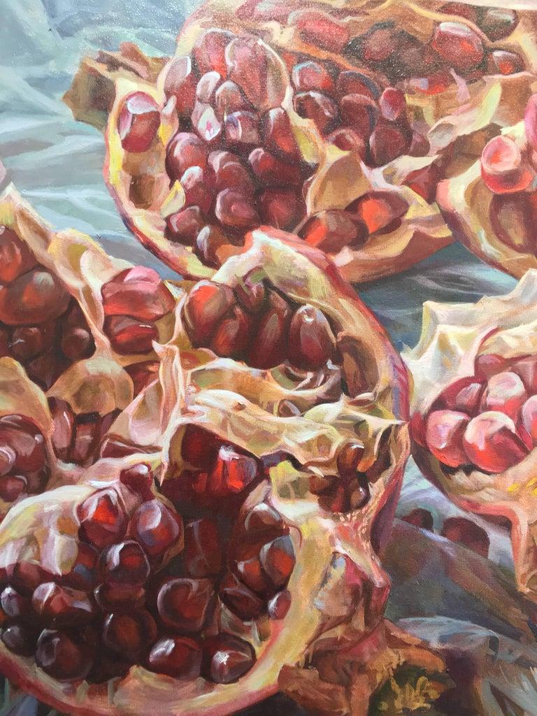 Granatum Scissa, Large Horizontal Still Life, Red Pomegranate on Gray Background 1