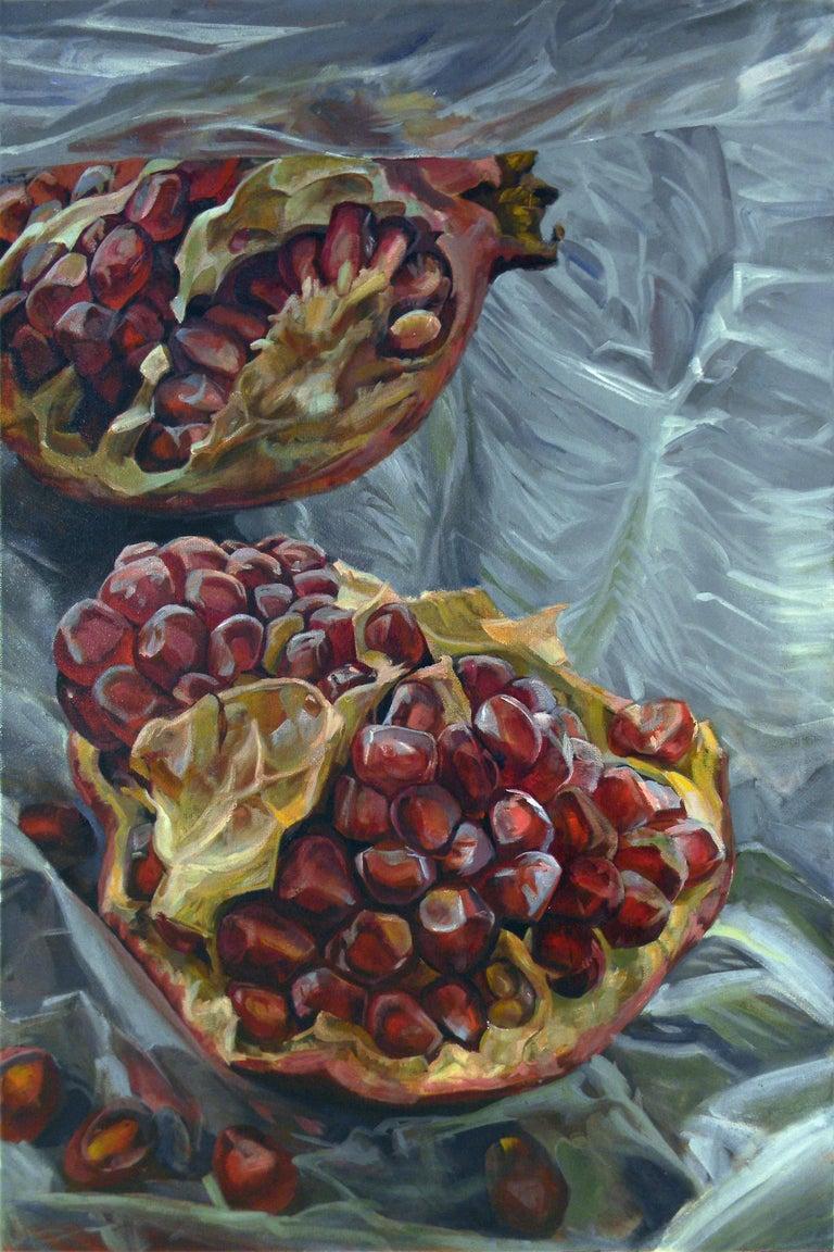 Granatum Scissa, Large Horizontal Still Life, Red Pomegranate on Gray Background 2