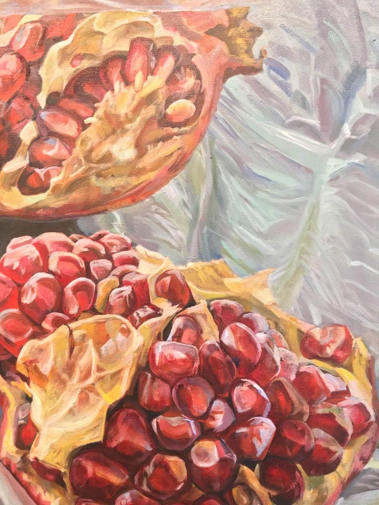 Granatum Scissa, Large Horizontal Still Life, Red Pomegranate on Gray Background 3