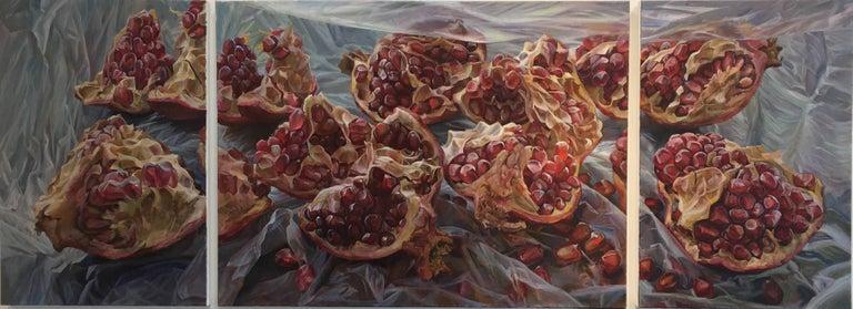Andrea Kantrowitz Still-Life Painting - Granatum Scissa, Large Horizontal Still Life, Red Pomegranate on Gray Background