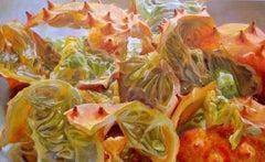 Myriad Ravines, Large Horizontal Still Life Painting, Orange Kiwano Melon Fruit