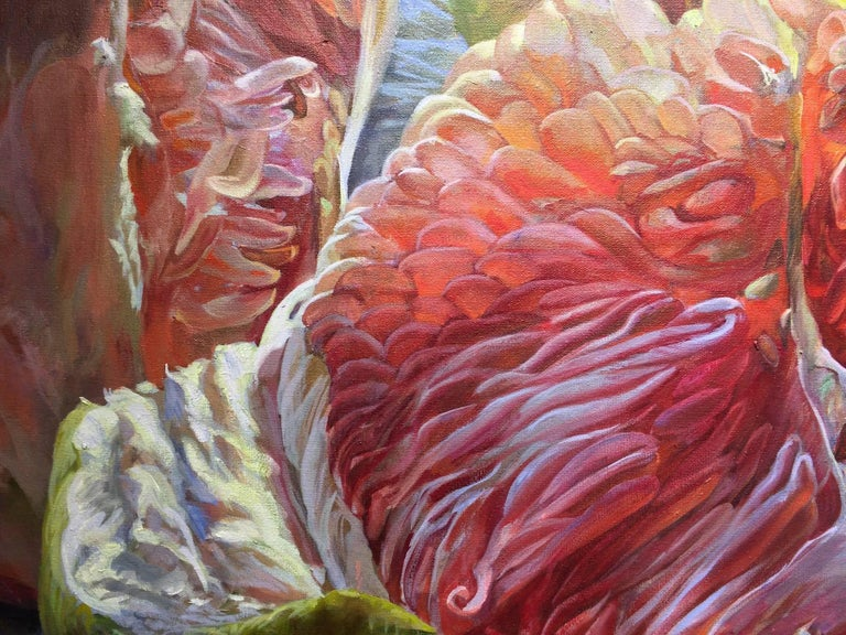 Andrea Kantrowitz's still life paintings are anything but still. They are expressive forms captured in motion. In this large, horizontal oil painting, a glistening pomelo is pulled apart, revealing dewy, peachy pink succulent segments arranged in a