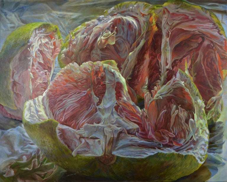 Andrea Kantrowitz Still-Life Painting - Plato's Cave, Large Still Life Oil Painting of Green and Pink Pomelo Fruit