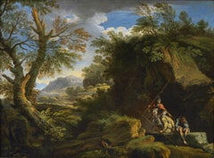 18th Century Andrea Locatelli Landscape With Figures oil on Canvas Green Blue