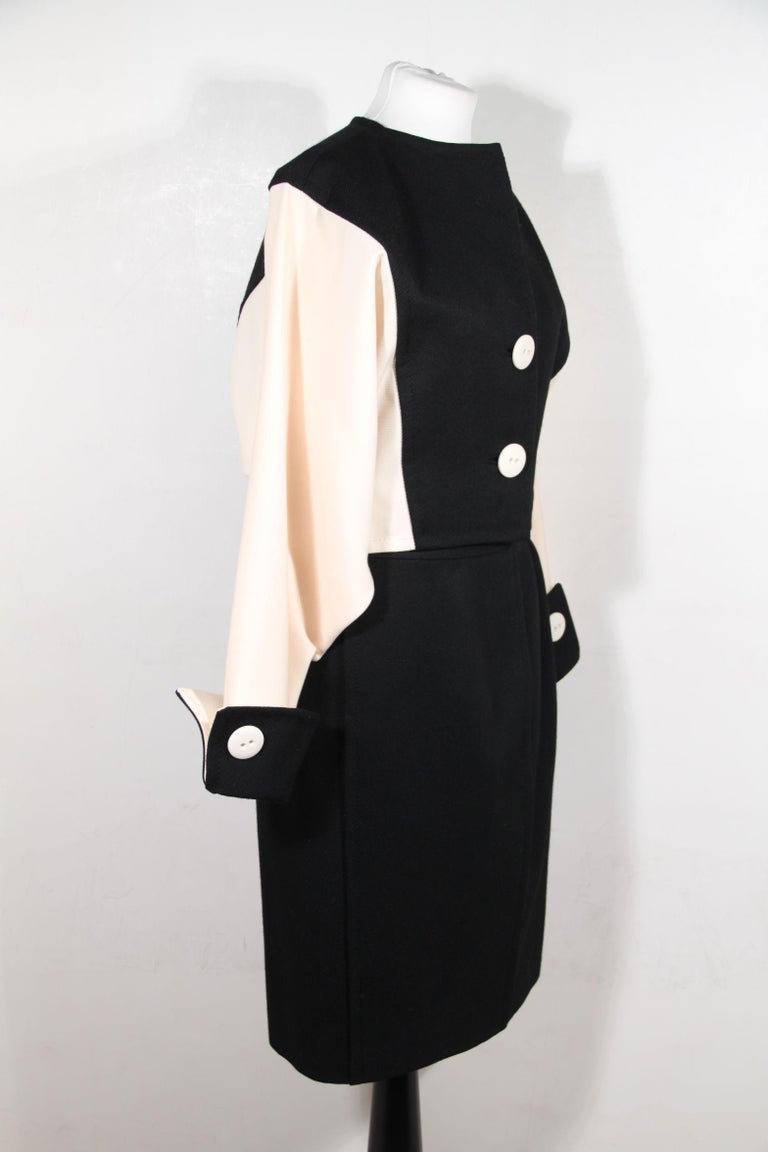 Andrea Odicini Vintage Suit Black White Jacket and Skirt Set Size 44