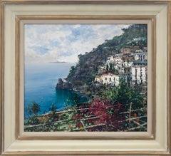 Costiera 20th Century Coastal Seascape Oil Painting on Board by Italian Artist