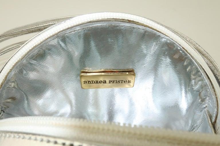 Andrea Pfister Gold & Silver Leather Disk Handbag, 1980's For Sale 5