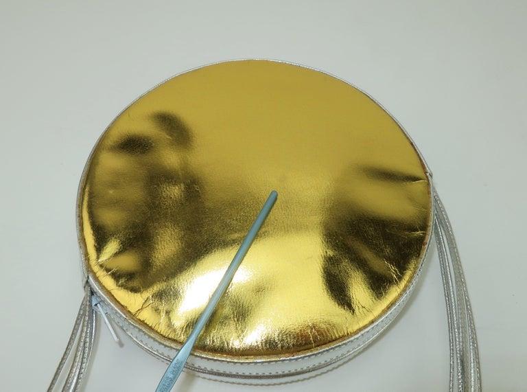 Andrea Pfister Gold & Silver Leather Disk Handbag, 1980's For Sale 7