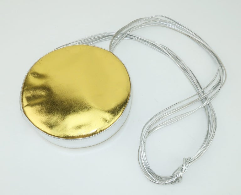 Beige Andrea Pfister Gold & Silver Leather Disk Handbag, 1980's For Sale