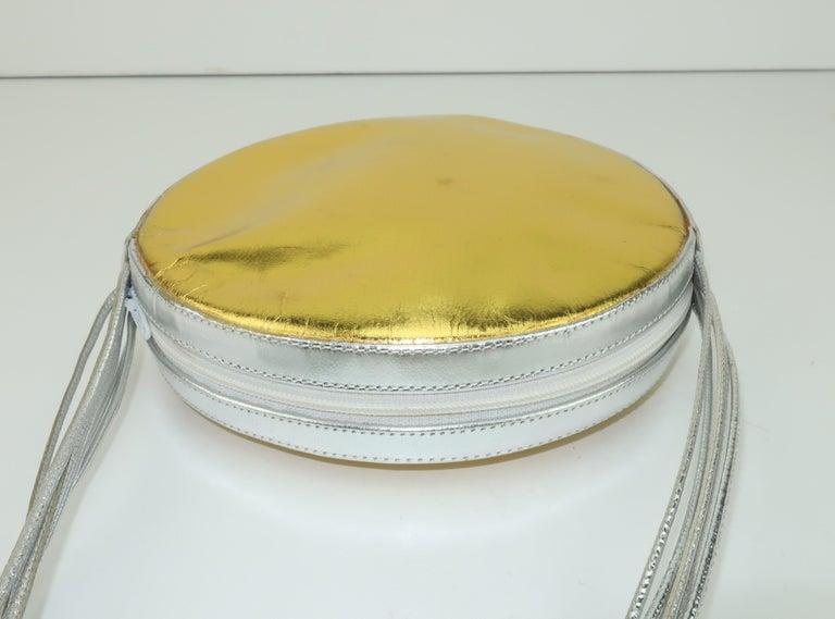 Andrea Pfister Gold & Silver Leather Disk Handbag, 1980's For Sale 2