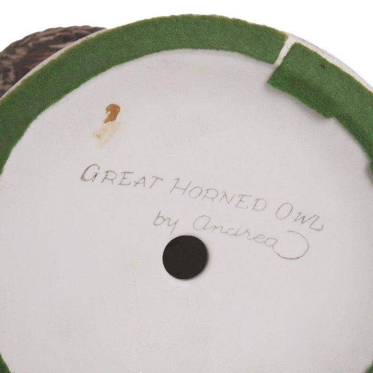 Andrea Sadek Porcelain Great Horned Owl Center Piece For Sale 1