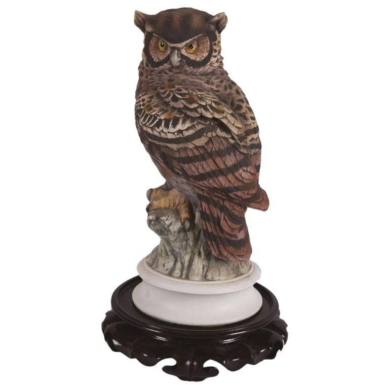 Andrea Sadek Porcelain Great Horned Owl Center Piece For Sale