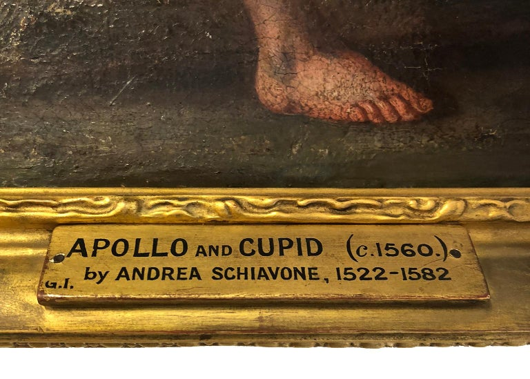 Apollo and Cupid Circle of Andrea Schiavone (1522-1563) - Contemporary of Titian For Sale 4