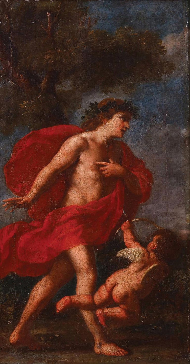 Apollo and Cupid Circle of Andrea Schiavone (1522-1563) - Contemporary of Titian - Painting by Andrea Schiavone