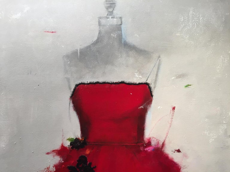 Put On A Red Dress And Make Yourself A Drink (Dress 29) - Painting by Andrea Stajan-Ferkul