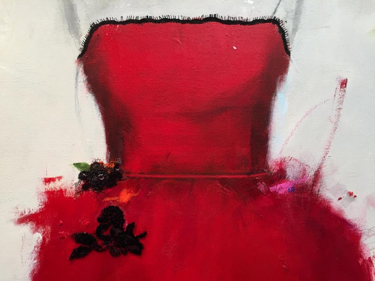Put On A Red Dress And Make Yourself A Drink (Dress 29) - Contemporary Painting by Andrea Stajan-Ferkul